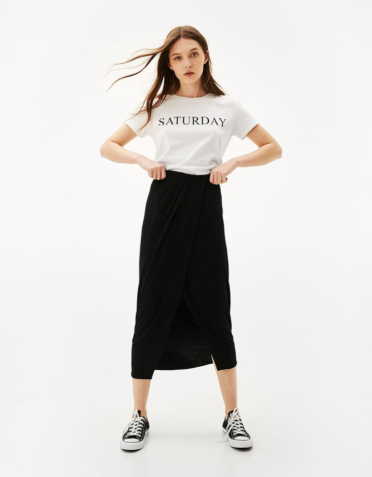 Long crossover dress with gathering detail. Discover this and many more items in Bershka with new products every week