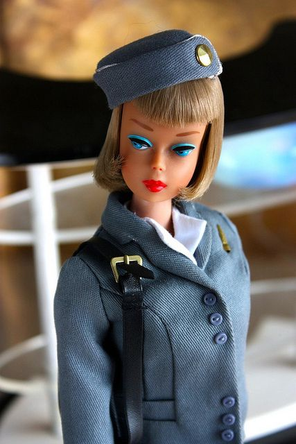 Pan American Airways Stewardess Barbie.   A long hair, high color vintage American Girl Barbie, circa 1966 ... can you tell that the outfit is a well-executed reproduction?
