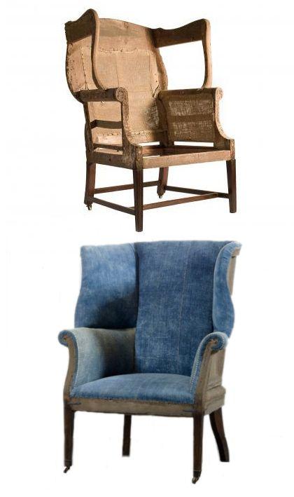 Arriba, armazón de sillón de orejas de Hepplewhite. Abajo reproducción de Ralph Lauren. #neoclasicismo #neoclasicismoingles #estilogeorgiano #Hepplewhite #sillon