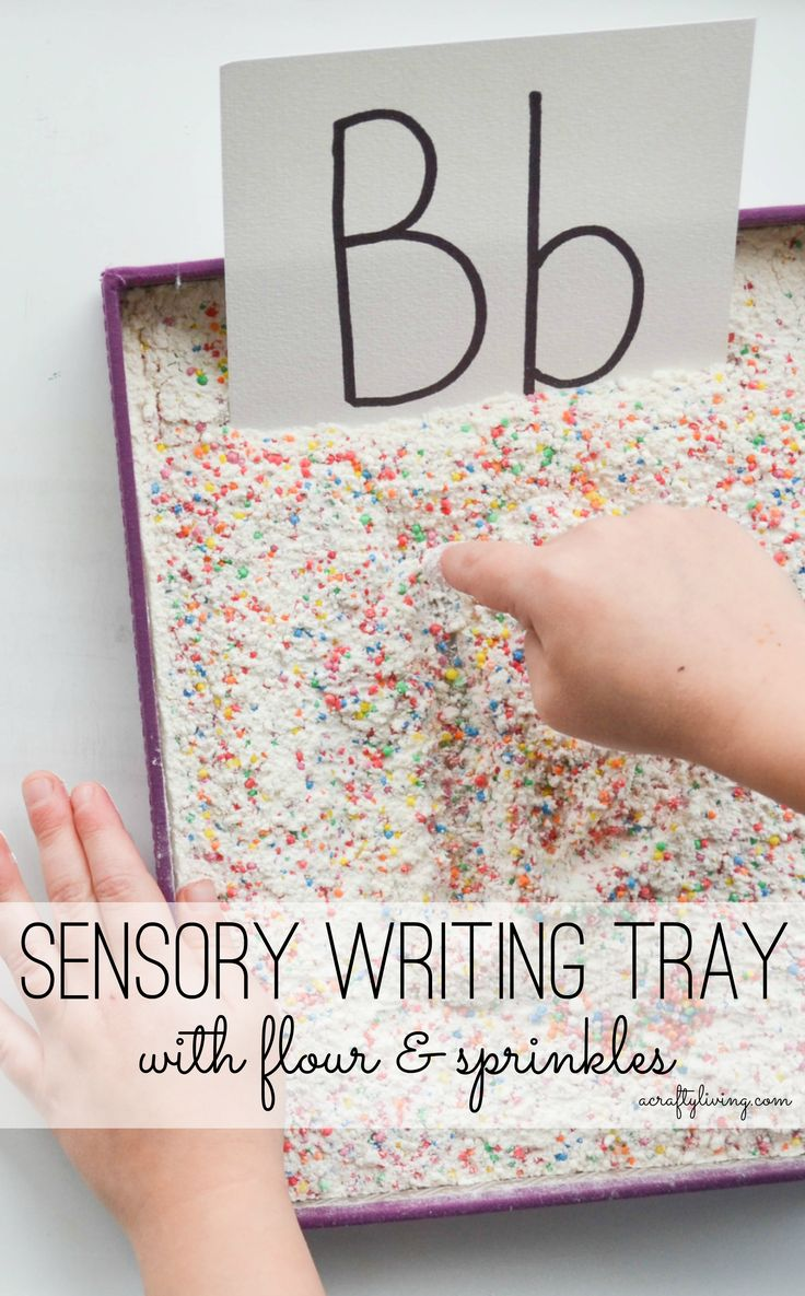Sensory Writing Tray with flour & sprinkles! Lots of sensory input whilst practicing letter recognition & early writing skills! Bonus; you can use the flour + sprinkles to make a batch of confetti pancakes afterwards! www.acraftyliving.com