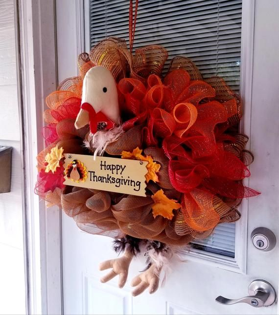 A Whimsical Turkey Wreath Is The Perfect Decor For Your Thanksgiving Front Door This Is A Plush Turke Happy Thanksgiving Sign Thanksgiving Signs Turkey Wreath