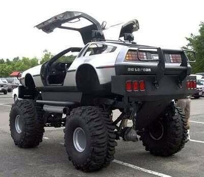 Delorean monster truck: where we're going we don't need any roads!!!