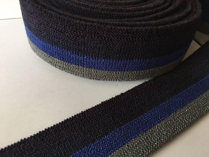 4 cm - 1.6 inch - belt elastic webbing, cotton elastic webbing, striped cotton elastic webbing, suspender elastic, heavy duty elastic, by NoaElastics on Etsy