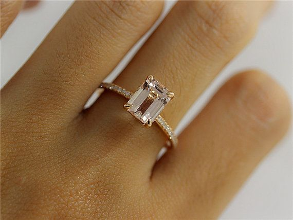 Art Deco Engagement Set 6X8mm Morganite and Diamonds Engagement Ring with Matching Diamond Antique Knot Ring  in 14K Rose Gold