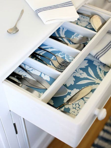 DIY Projects Using Wallpaper: Use wallpaper to spruce up the small spaces in your kitchen, like inside the drawers. Add a touch of whimsy by mixing and matching various patterns and colors.