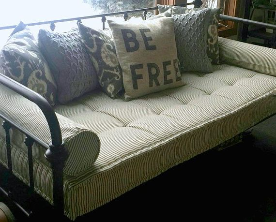 Custom Cushions, Black Ticking Stripe, French Mattress Quilting, Foam Daybed Mattress, Tufted Window Seat or Bench Seat Cushion