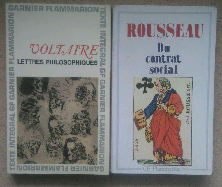 Lot de deux livres   Lettres philosophiques   et   Du contrat social
