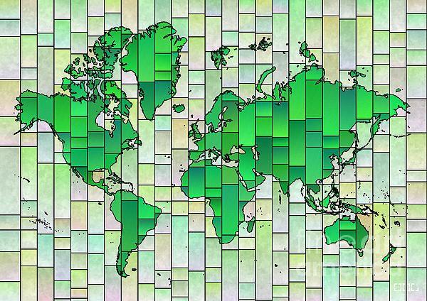 elevencorners world map in Glasa style, green and yellow. World map wall print decor. #elevencorners #mapglasa