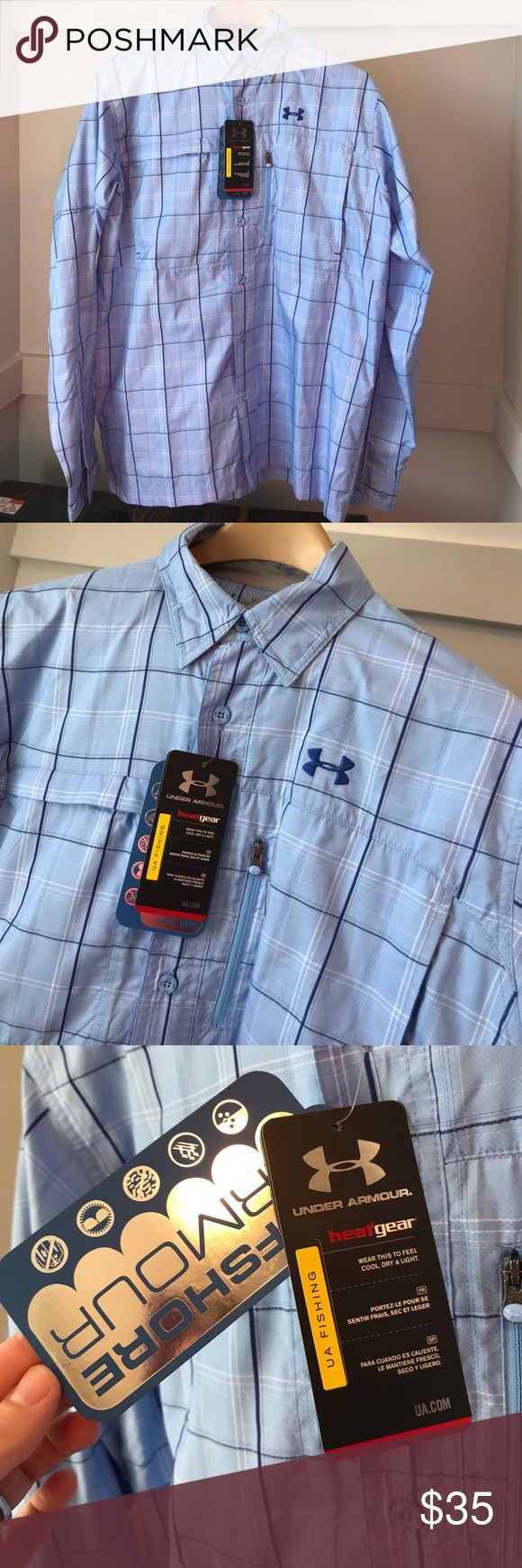 Men's under Armour offshore medium fishing shirt New!  New with tags.  Excellent condition! Under Armour offshore.  Long sleeve.  Light blue.  Similar to UNC colors.  Men's size medium. Heat gear. Lightweight. Button down shirt. Casual Under Armour Shirts Casual Button Down Shirts