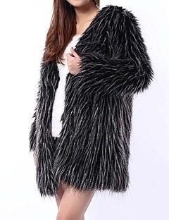 kürk ceket moda uzun kollu kapşonlu taklit kürk parti / casual ceket