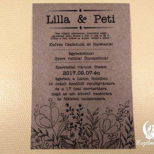 Nyomtatott esküvői meghívó 44.  #esküvői #meghívó #nyomtatott #esküvőimeghívó #egyedi #wedding #weddinginvitation #printed #unique #kraftpaper #flowers