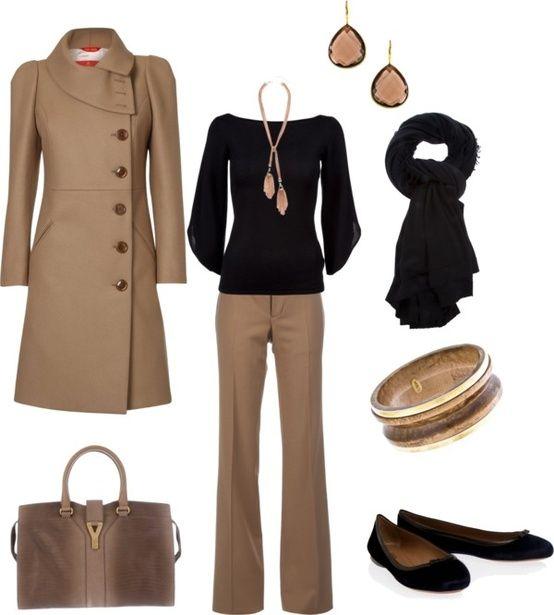 Black Long-sleeve Tee, Khaki Wide-legged Pants, Scarf or Statement Necklace, Black Heels. WINTER