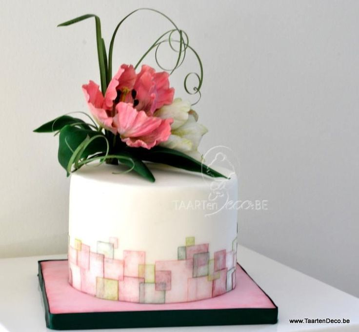 An Other Cake With Wafer Paper Squares And Parrot Tulips Cake By