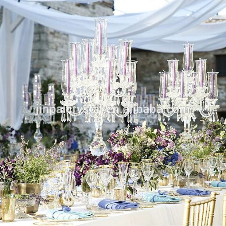Hurricane Crystal Candelabra Wedding Centerpieces 9 Arms Candle Holder For Event Table