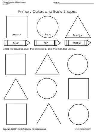 Snapshot image of Primary Colors and Basic Shapes worksheet