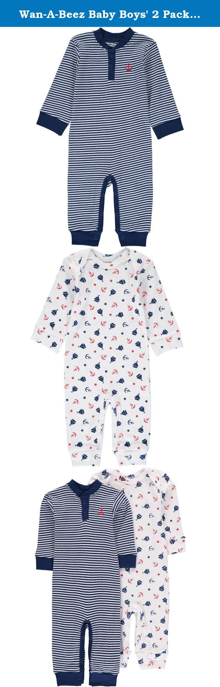 Wan-A-Beez Baby Boys' 2 Pack Printed Coverall (6-9 Months, Navy Nautical ). He will be ready to take on any adventure (or nap the day away) in these adorable printed coveralls! Each set includes an all-over screen printed sleeper with expandable shoulders for easy outfit changes when diapers get messy! The yarn-dyed stripe henley bodysuit features a sweet embroidered applique at the chest and high-quality snaps on reinforced panels to withstand change after change. The soft, cotton rib is...