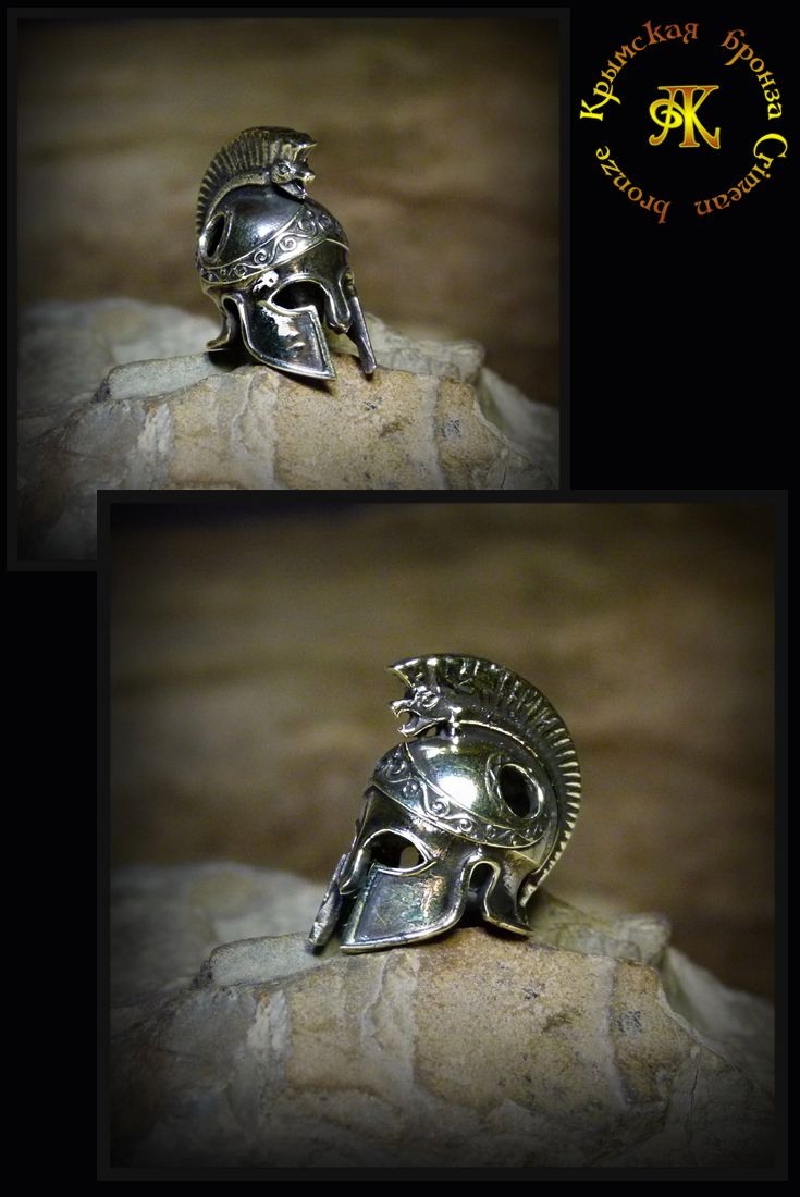 "Knife beads ""Greek helmet"" . Paracord , knife or lanyard bead in bronze by Crimean bronze ."