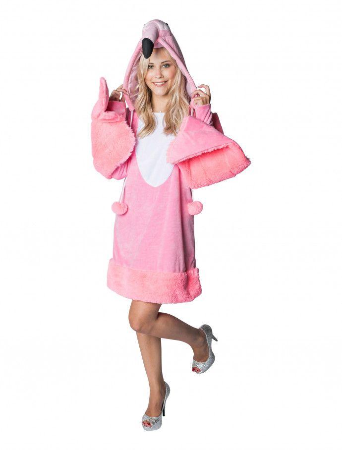kleid pluesch flamingo damen fuer karneval fasching kaufen