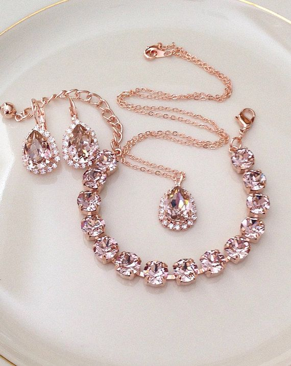 The Set Bracelet Earrings Necklace Swarovski Morganite