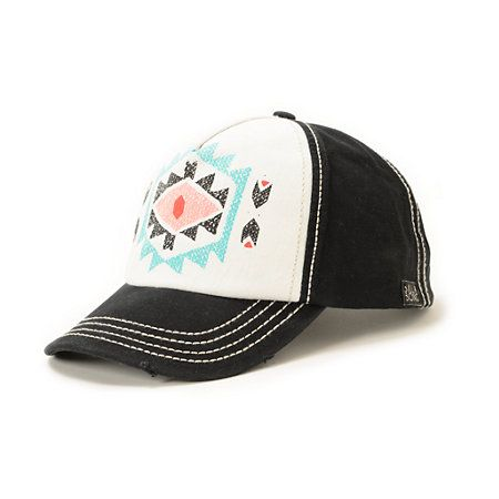 The Billabong Girls By Choice black print snapback hat is a stylish hat that offers shade while you soak up the sun. Lay out at the beach with the tribal print graphic at the white front with black back panels and a snapback sizing piece so you can fully