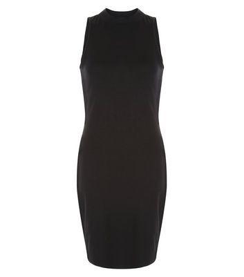 Mini robe moulante noire à col cheminée et rayures sur les côtés