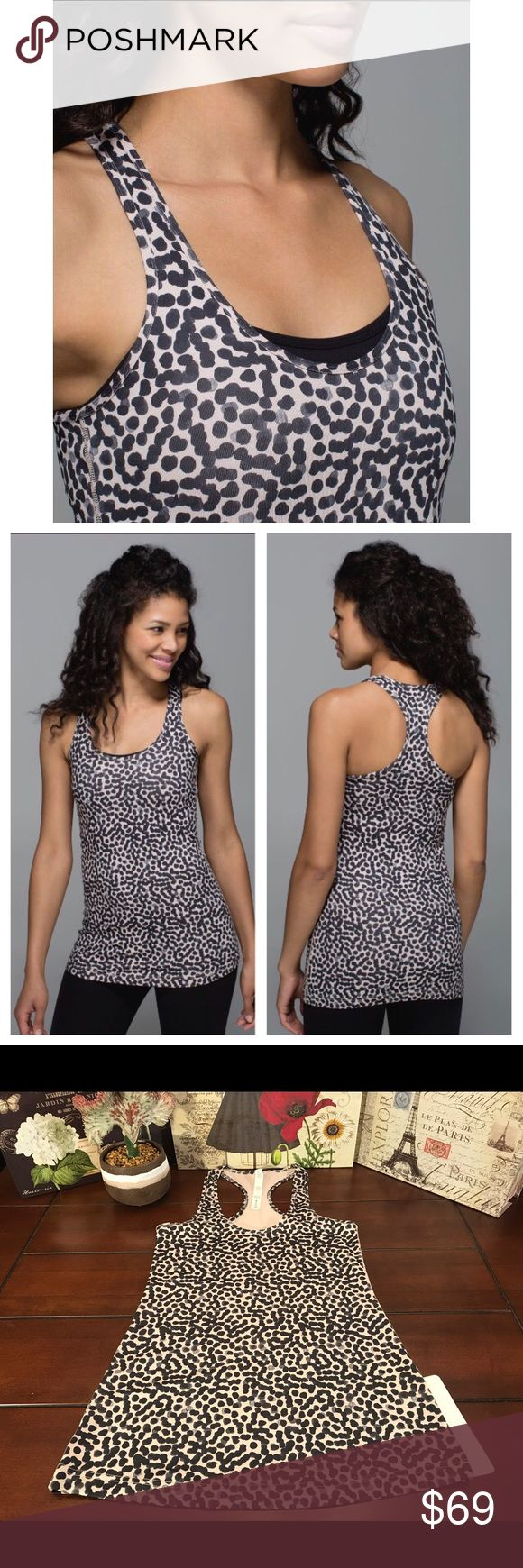 Lululemon Cool Racerback CRB Tank-Ace Spot, Size 6 Lululemon Cool Racerback CRB Luon Tank-Ace Spot Grain, Size 6  Brand new with tag! ☺The print is Ace Spot Grain (cream with black dots). Made of Luon Light and Lycra.   Length-27 inches Bust- 27 inches (13.5 inches across) Material- Luon Light, Lycra lululemon athletica Tops Tank Tops