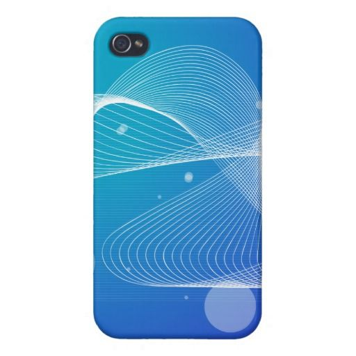 Abstract Blue Wavy Line iPhone 4/4S Cases