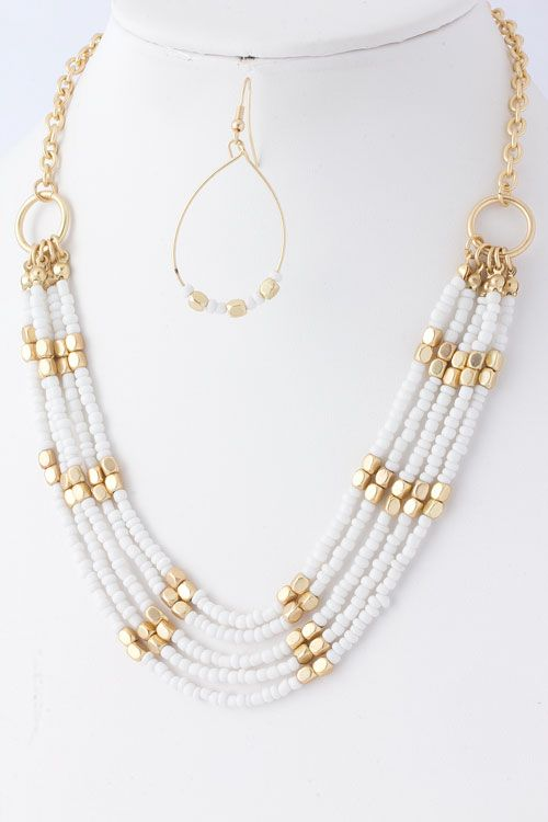 White Katelyn Necklace Set on Emma Stine Limited- think i'll make this in a cool blue color