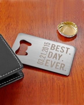 Our Best Day Wallet Bottle Opener - Gift idea for groomsmen - Here's a handy way for them to remember that very special day. It slides easily into a pocket or wallet credit card slot. The perfect gift for groomsmen! - $14.99
