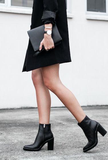 botines negros, bolso de piel #moda #fashion fall winter 2014 otoño invierno minimal coat