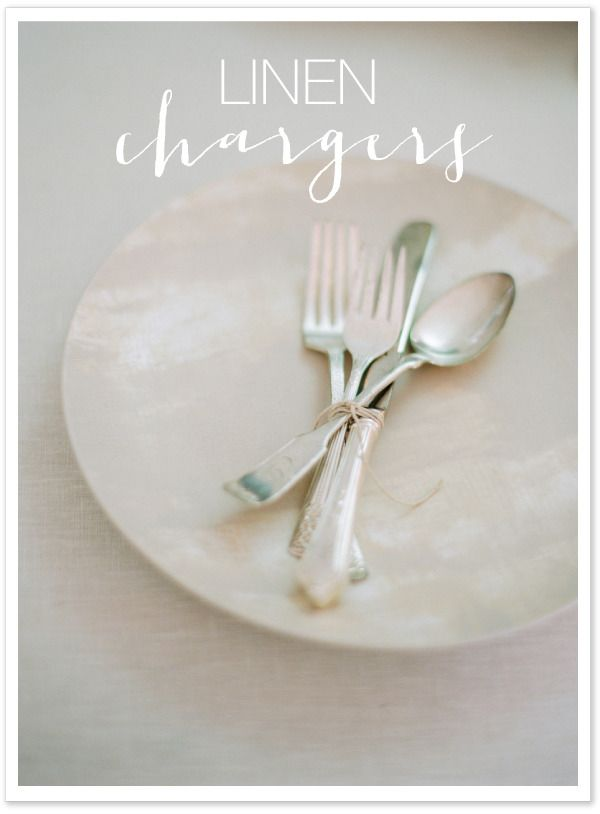 DIY Linen Painted Chargers  Read more - http://www.stylemepretty.com/living/2012/11/11/smp-at-home-diy-linen-painted-chargers/