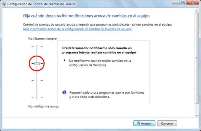 Desactivar UAC de Windows o configurarlo
