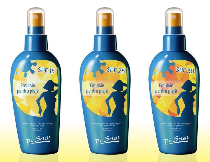 Dr Soleil - cosmetics (design - Victor Calomfir) Sun protection packaging design -SPF 15 / SPF 25 / SPF 30