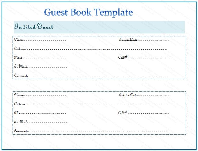 Guest Book Template V  Books    Template