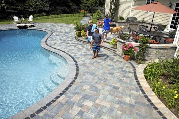 Pool deck with Richcliff and Courstone paver by Unilock