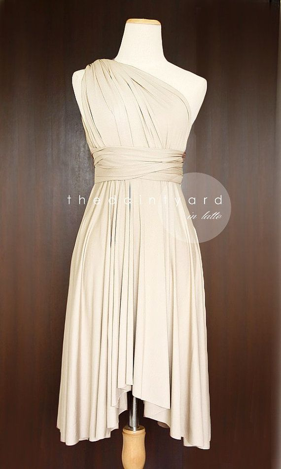 Latte Bridesmaid Convertible Infinity Dress Multiway Wrap Prom Dress Maid of Honor Champagne