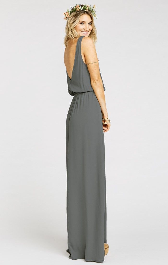 Kendall Maxi Dress ~ Soft Charcoal Crisp | Show Me Your MuMu