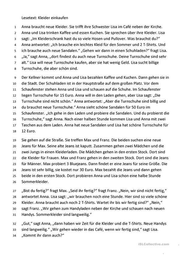 Lesetext Einkauf Kleidung Deutsch Lernen Lesen Lernen