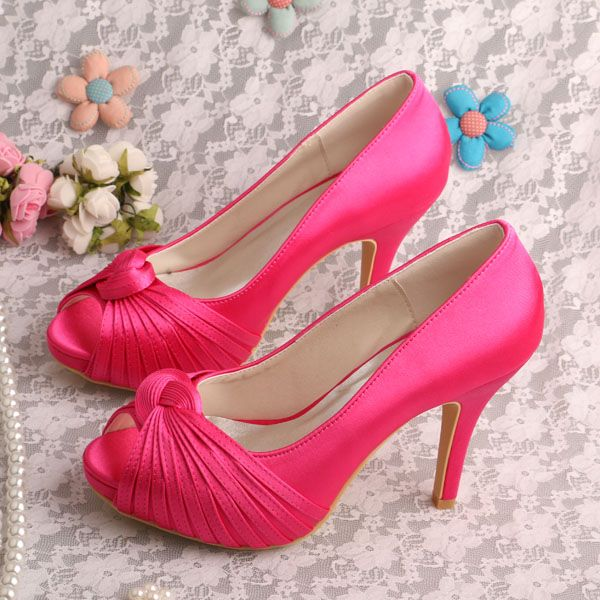 20 Colors Wedding Shoes Hot Pink Prom Shoes Platform Pumps Peep Toe Dropshipping //Price: $US $41.80 & FREE Shipping //     #clothing