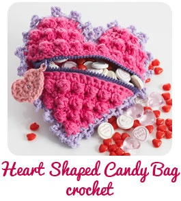 how cute: Candy Bags, Free Pattern, Heart Shape, Bags Patterns, Shape Candy, Crochet Heart, Coins Pur, Valentine, Crochet Patterns