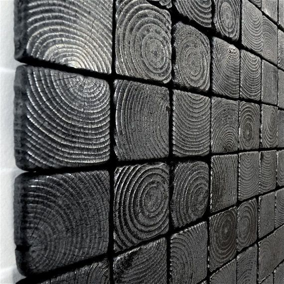 Charred Squares - Wooden Wall Sculpture