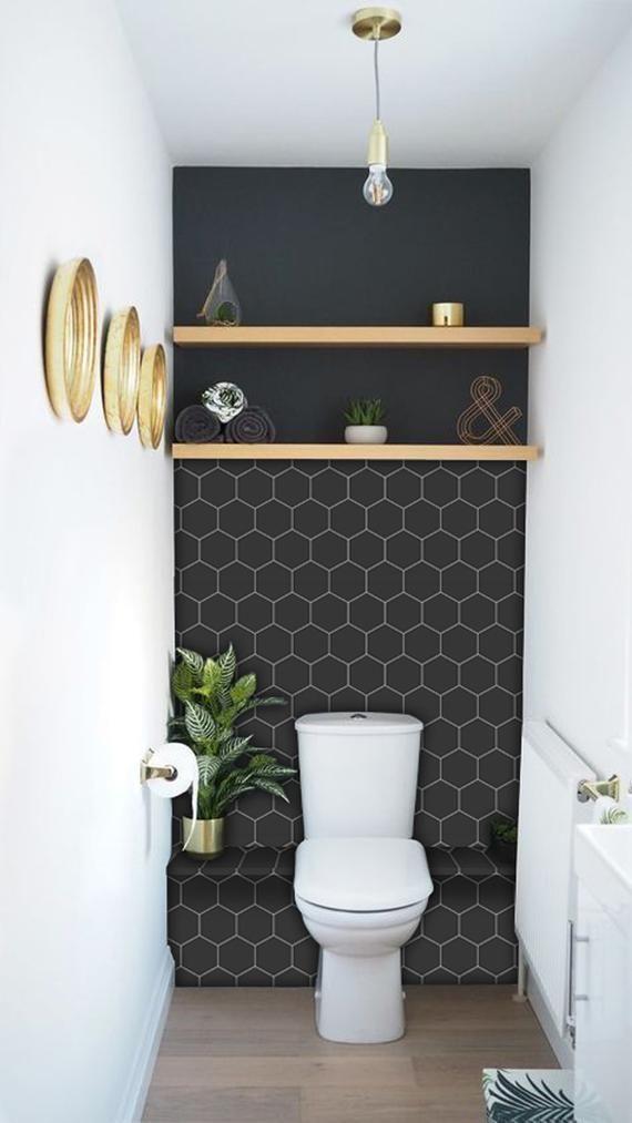 Kitchen And Bathroom Splashback Removable Vinyl Wallpaper Hexa Ebony Peel 2019 Kitchen And Bat Bathroom Splashback Bathroom Inspiration Small Toilet Room