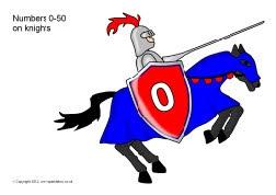 Numbers 0-50 on knights (SB8726) - SparkleBox