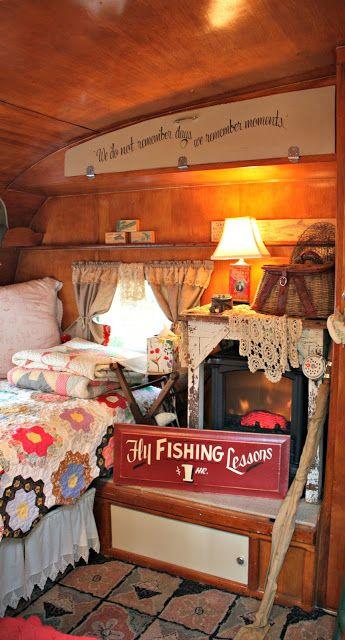 Interior of a 1963 Shasta...a mobile cabin!