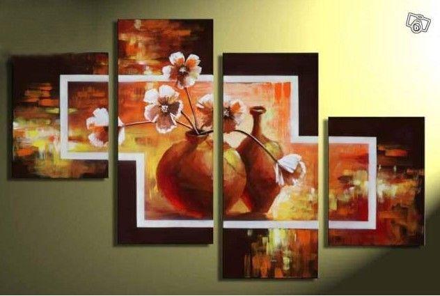 Kwiaty tryptyk ręcznie malowany 120x80 Ślub