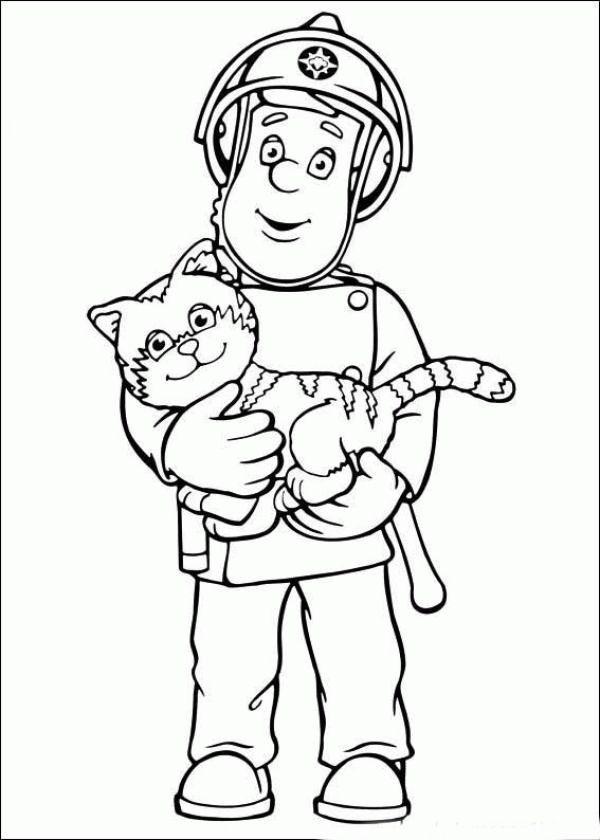 Coloreaza Plansa de colorat pompierul sam tine o pisica in brate #plansedecolorat #coloringpages #kids #kidscoloringpages #copiisimamici