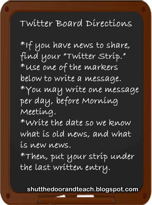 For sharing news at Morning Meeting: Classroom Twitter Board, via All Things Upper Elementary