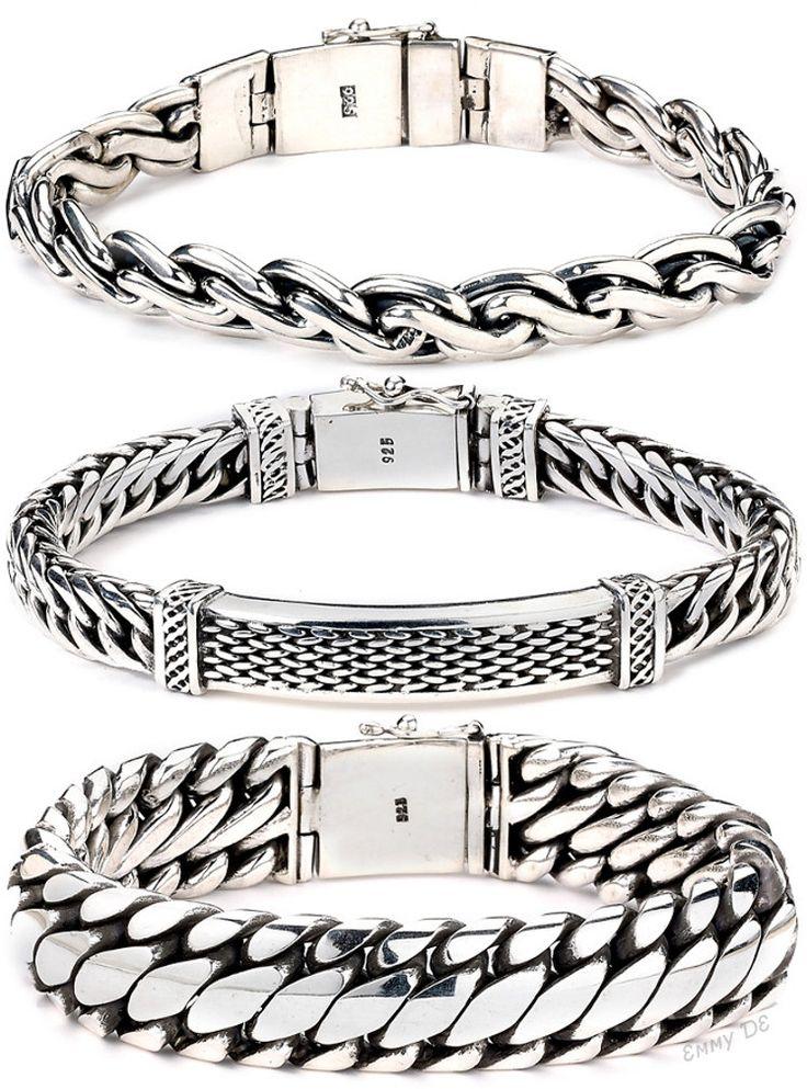 Fred Bennett Sterling Silver for Men's and Black Onyx Beaded Bracelet of…