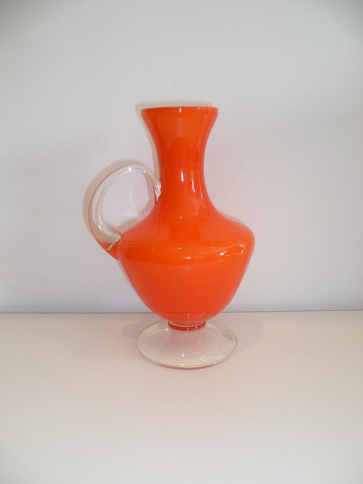 Vintage retro vibrant orange glass jug vase by for Orange vase