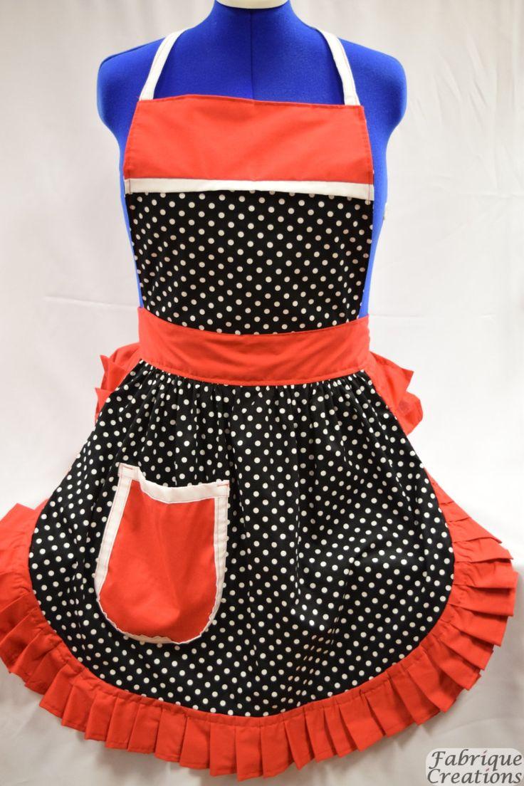 White apron etsy - Retro Vintage 50s Style Full Apron Pinny Black White Polka Dot With White Trim